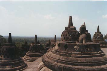 The Buddha statues found all over Borobudur Buddhist Monument