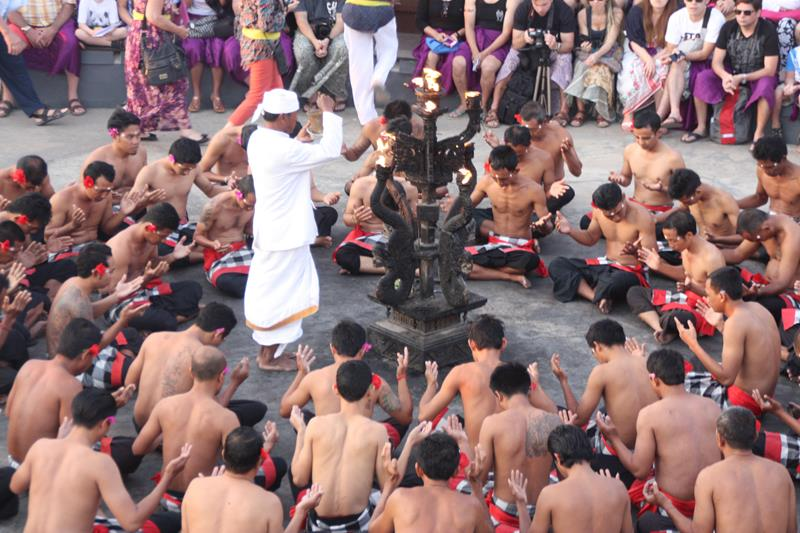 Hindu priest blessing the Kecak Dance performance