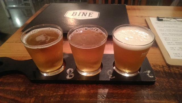Beer tasting paddle at Bine Beer Bar