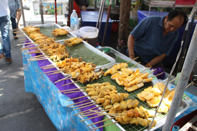 Seafood on a stick at Chatuchak markets Bangkok