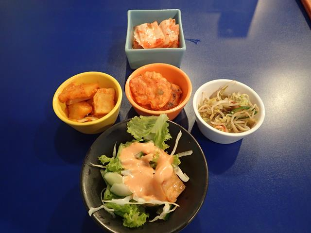 Side dishes at Bibimbap Korean Restaurant Kuta