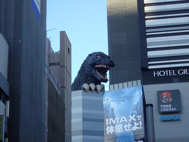 Godzilla on top of Toho Cinema complex Kabukicho