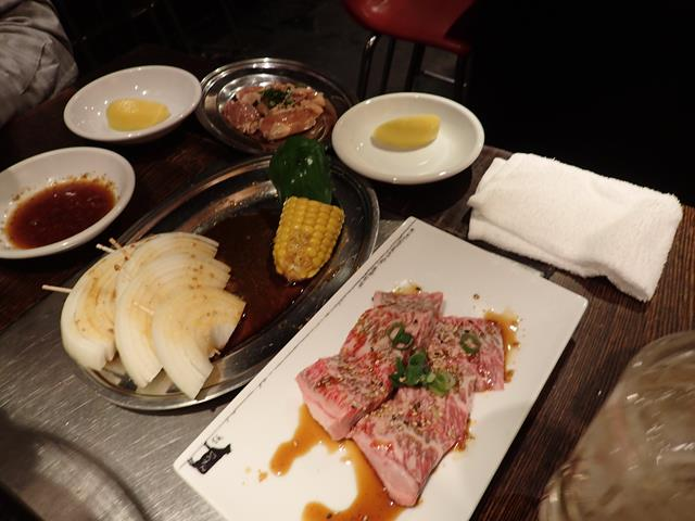 Meat and vegetables at Don Don Yakiniku Restaurant Shinjuku