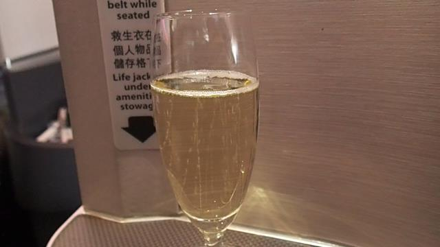 Champagne Duetz before take-off in Business Class Cathay Pacific
