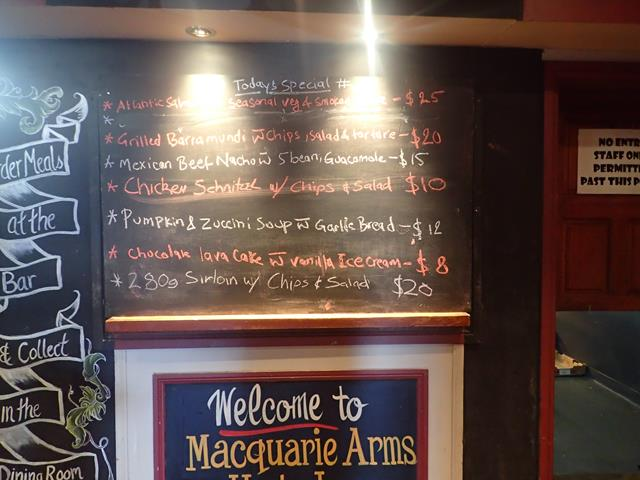 Pub food at Macquarie Arms Hotel Windsor