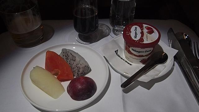 Dessert on Qantas Business Class