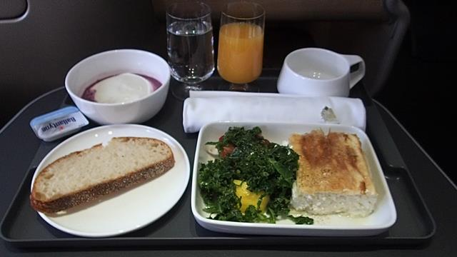 Breakfast Qantas Business Class Domestic Flight