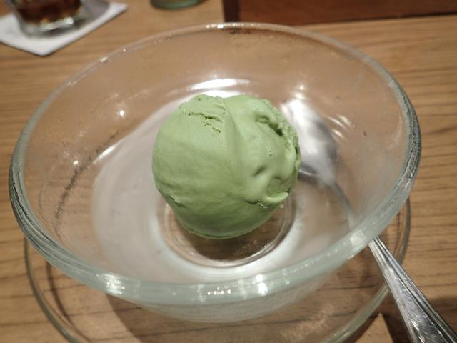 Green tea ice cream at Maisen Restaurant