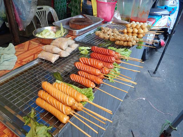 Meat on a stick at Khlong Toei Food Market
