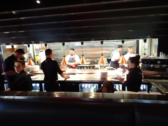 Open kitchen at Moo Moo Grill