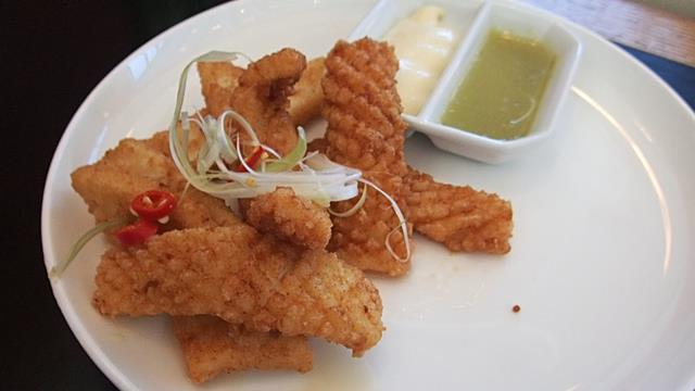 Salt and Pepper Squid at Qantas First Class Lounge