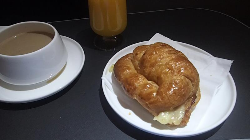 Breakfast on Qantas business class