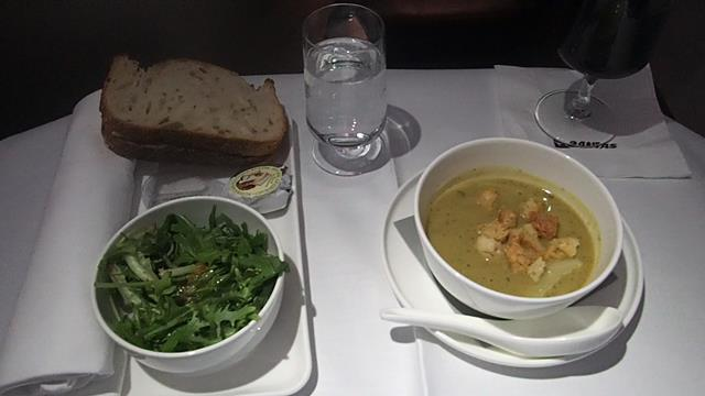 Zucchini Soup entree Qantas Business Class meals