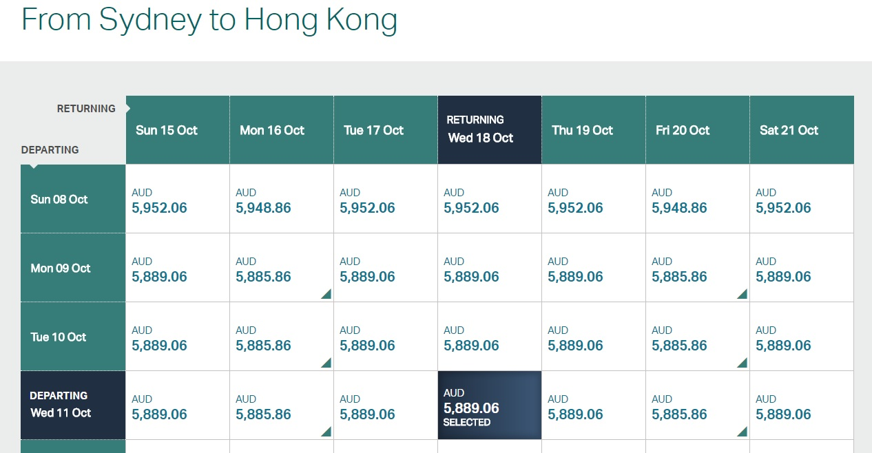 Cathay Pacific Business Class ticket