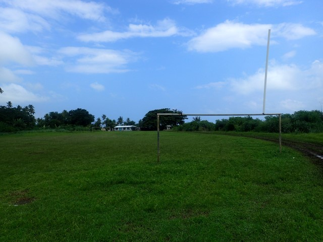 The Taveuni rugby field with International Dateline sign