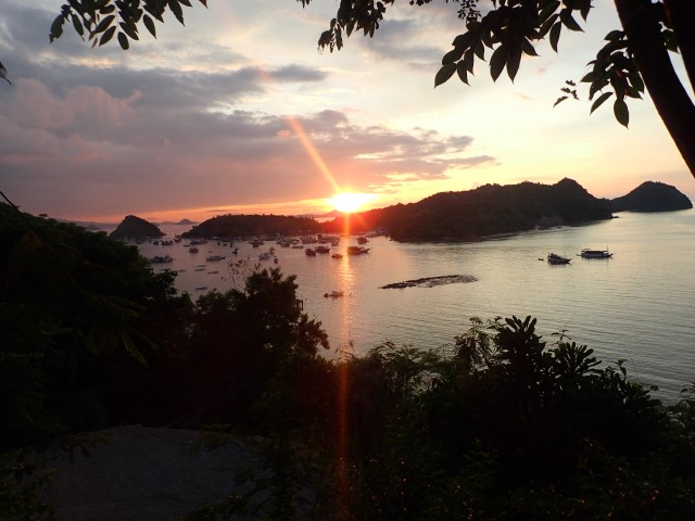 The view of the sunset from Sunset Bar Labuan Bajo