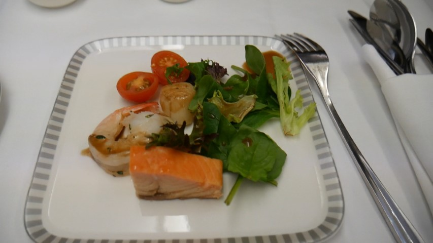 Seafood Salad Appetizer onboard Singapore Airlines Business Class