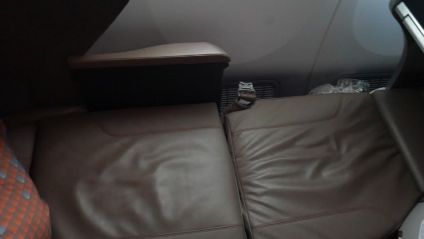 Seat fully reclined in lay flat bed position