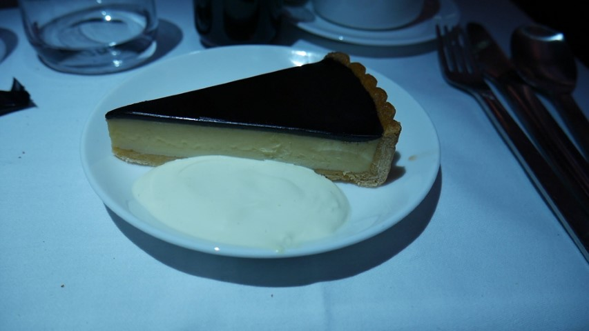 Chocolate Malted Tart for dessert on Qantas QF1 Business Class
