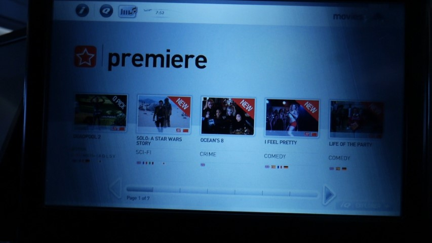 Latest release movies on Qantas A380 Entertainment System