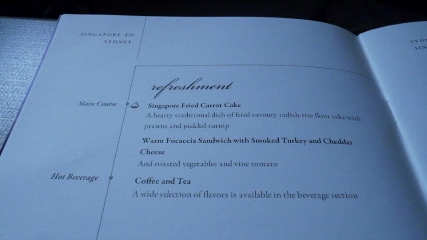 Refreshment Meal Menu on SQ211 Singapore Airlines