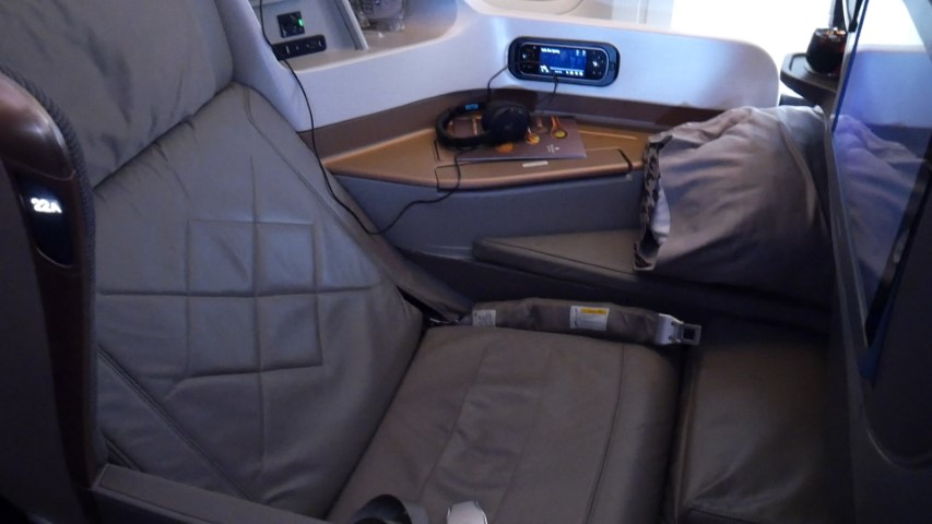 Singapore Airlines Business Class fully reclined
