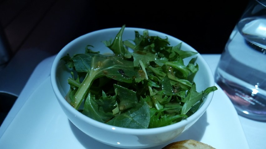 The bowl of lettuce on Qantas Business Class