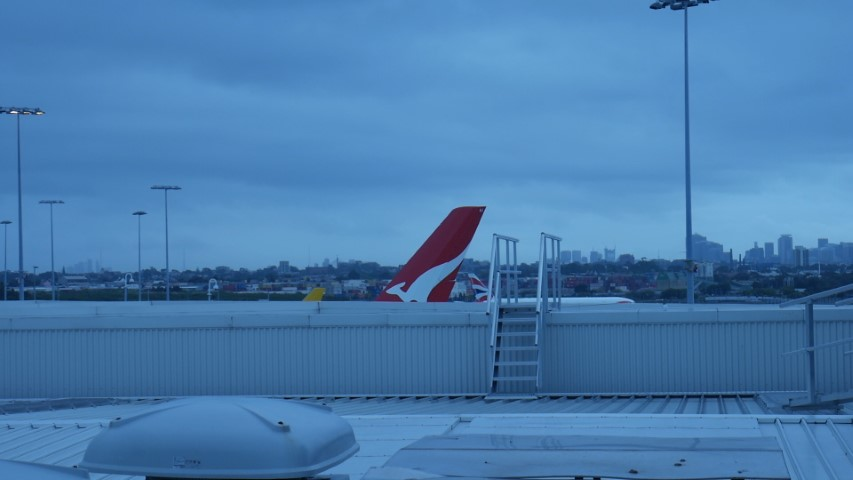 View of Qantas QF1 A380 from Qantas Business Lounge
