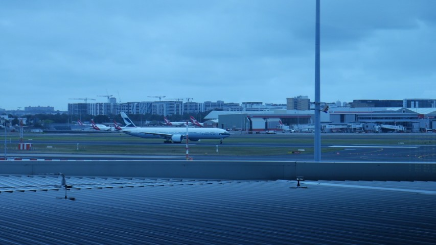 View of runway from Qantas Business Lounge at Sydney Airport