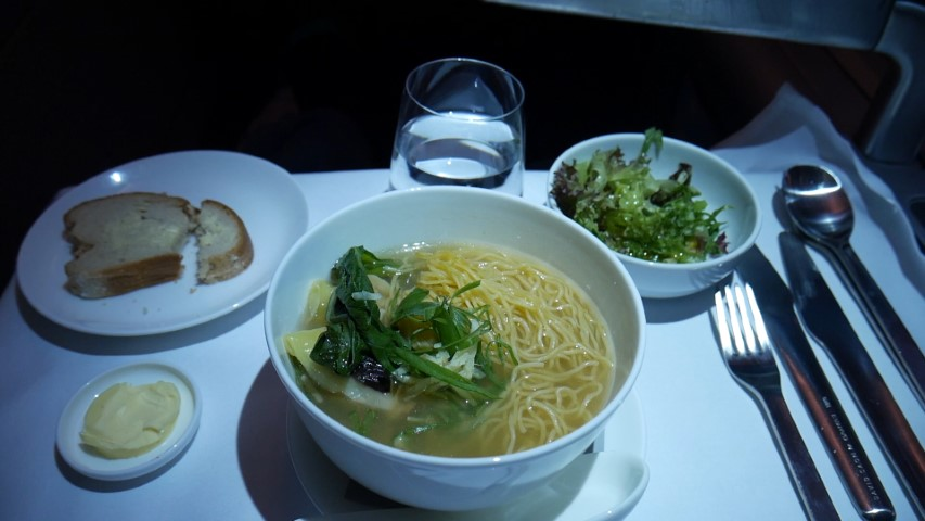 BBQ Duck dumpling noodle soup on Qantas QF2