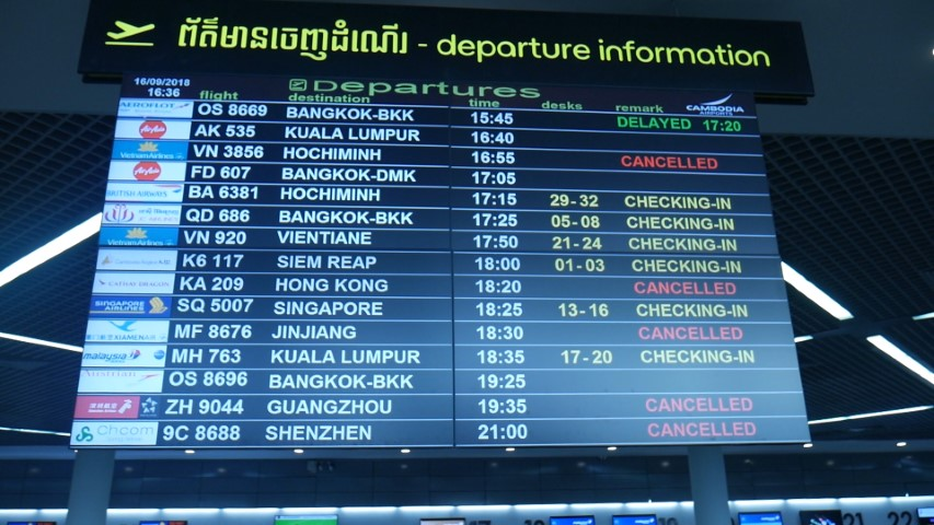 International destinations from Phnom Penh Airport