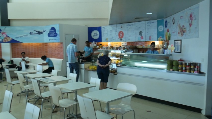 Food available after security at Siem Reap Airport