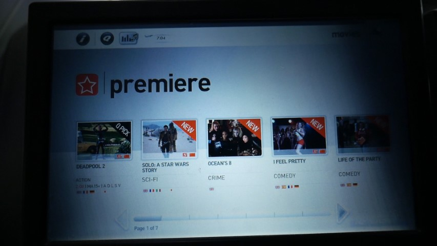 Latest release movies on Qantas Entertainment System