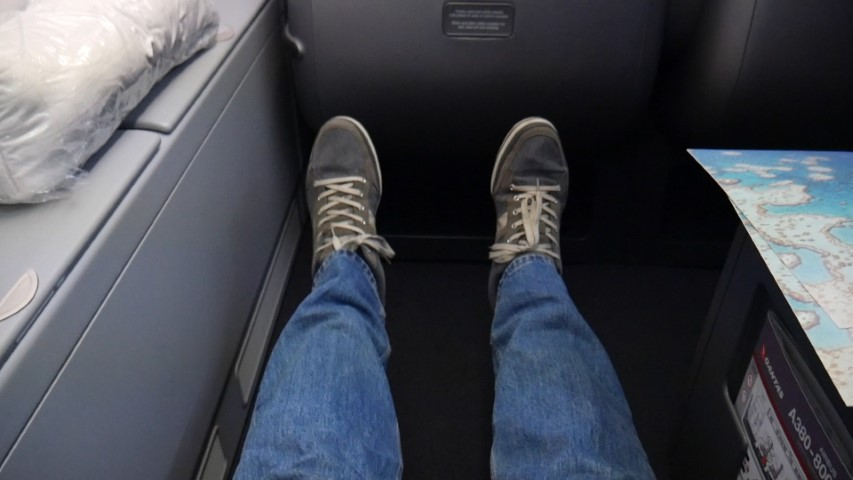 Loads of leg room on Qantas A380 Business Class