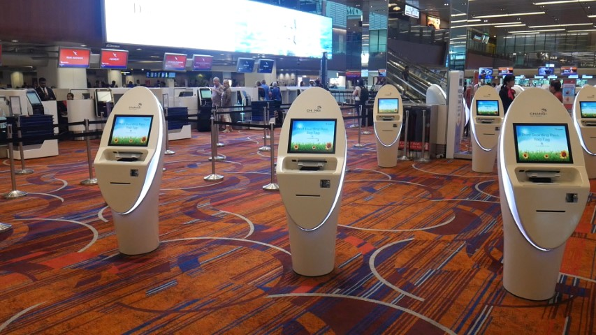 Qantas Automated Check-in Kiosks at Singapore Airport