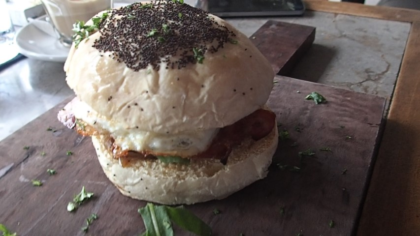 Bacon and Egg roll at Grocer and Grind Seminyak