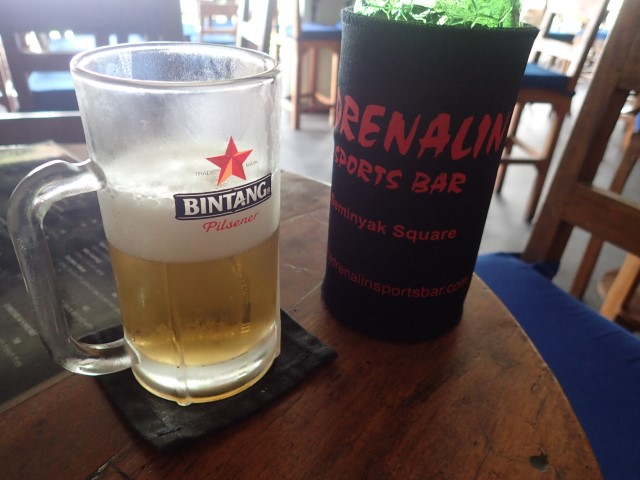 Cold Bintang Beer at Adrenaline Sports Bar Seminyak