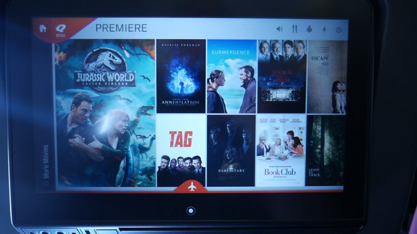 Entertainment System on Qantas A330-300 Economy Class