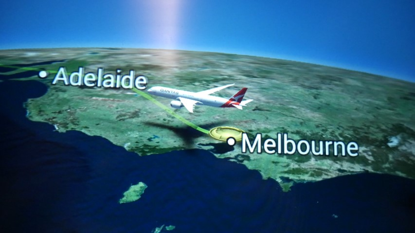 Flight map on Qantas B787-9 Economy Class