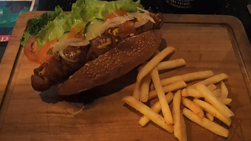 Fully Loaded Hot Dog at Royal Jack Sports Bar Kuta