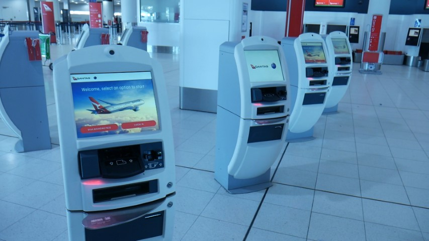 Qantas Electronic Check-in Kiosk at Perth Airport