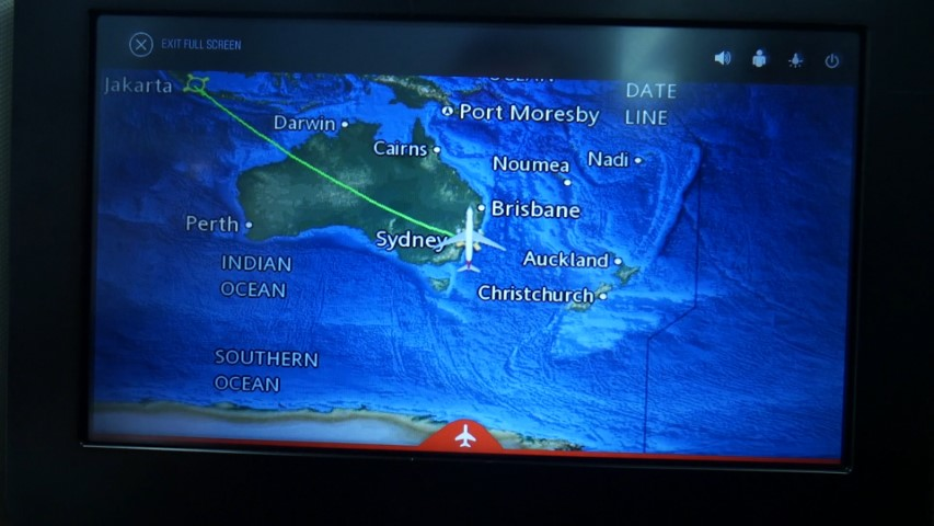 Flight map in Qantas Business Class