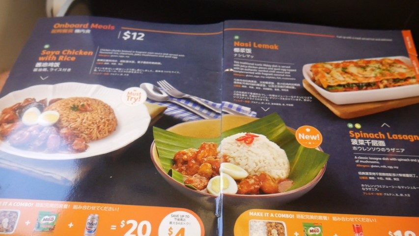 Food available on board Jetstar Asia flights