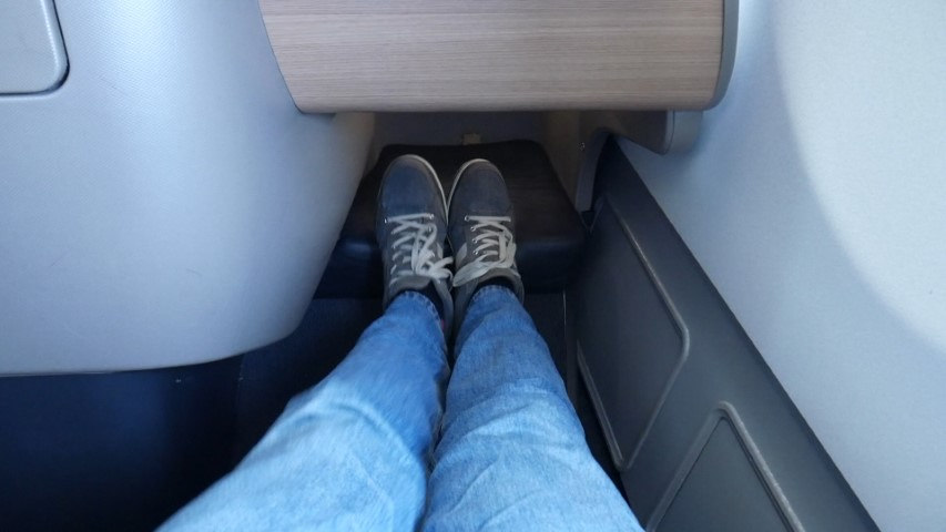 Lots of legroom on Qantas A330-300 Business Class