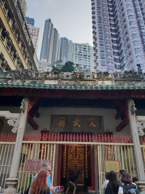 Man Mo Temple surround by apartment tower buildings