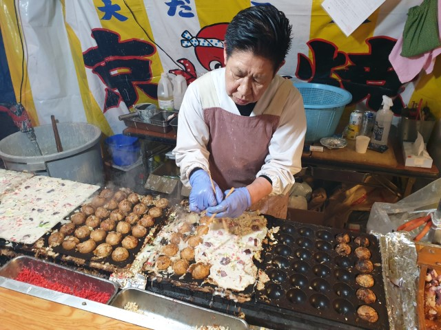 Takoyaki at night food markets Yasukuni Shrine