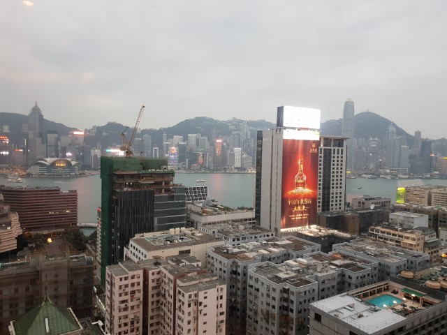 The view from the Club Lounge Hyatt Regency Hong Kong