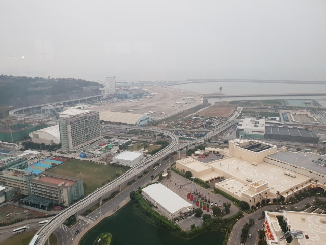 View over Macau Airport from the Grand Hyatt Club Lounge