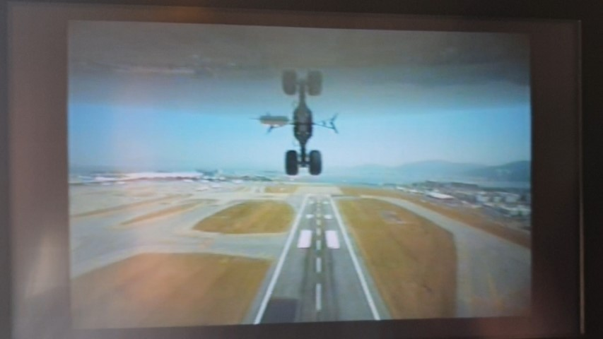Camera mounted under the plane on take-off