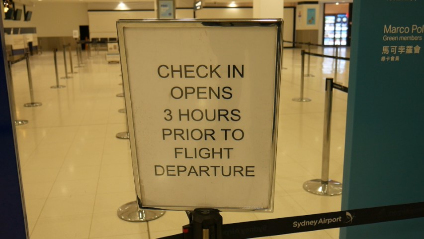 Counter open 3 hours prior to flight